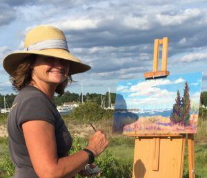 artist Barbara Healy painting plein air
