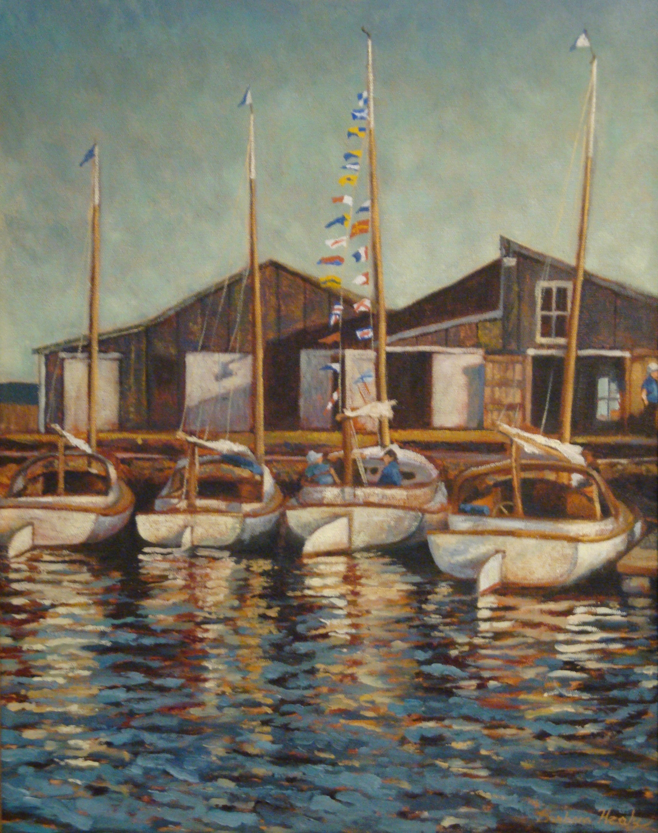 Catboats at Southwharf, oil 16x20