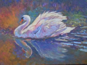 Ruffled Feathers, swan oil painting