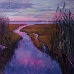 oil painting, salt marsh