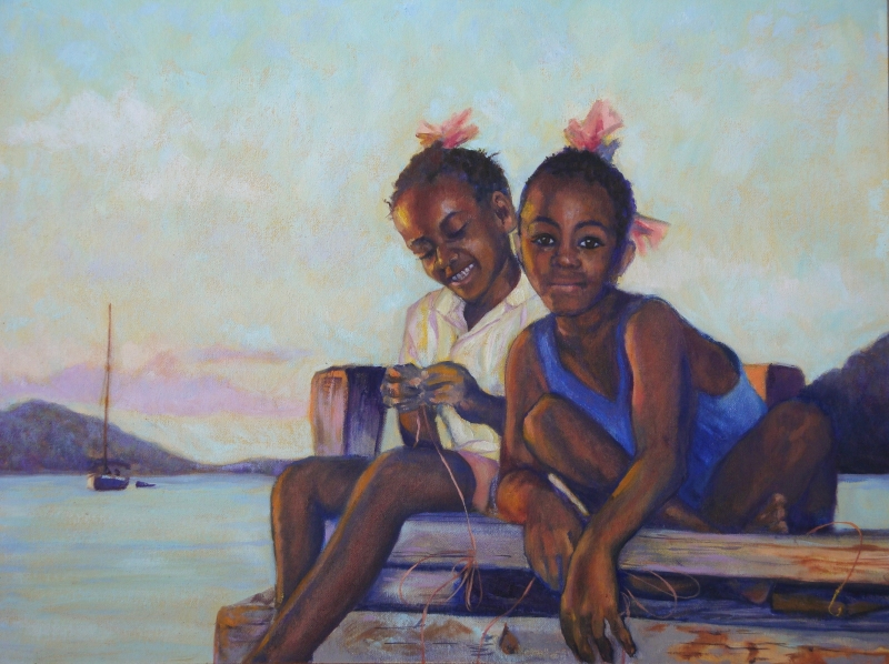 Handline Fishing BVI, oil 20x25