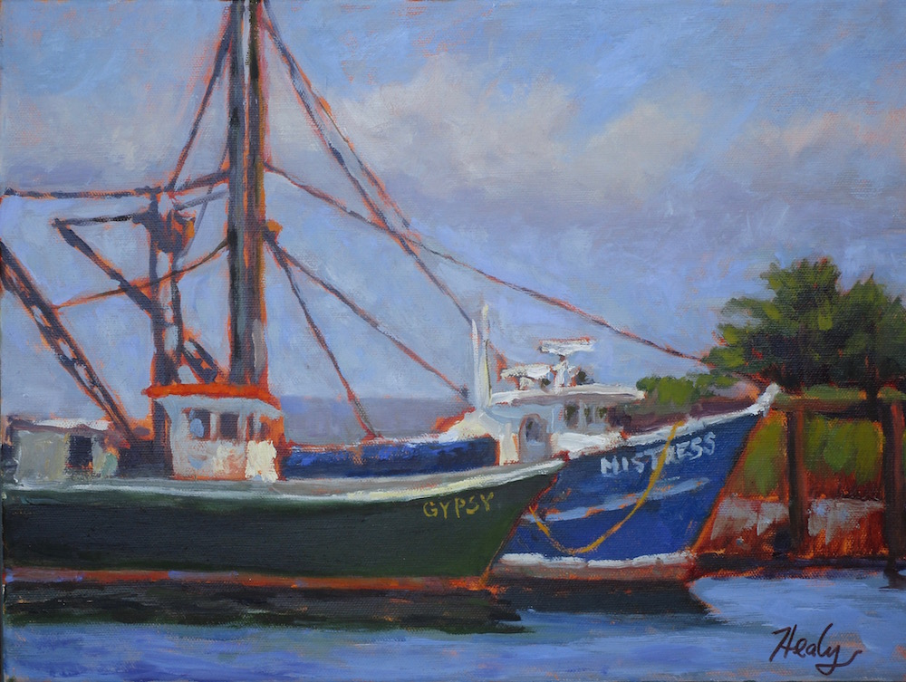 New Bedford Fishing Boats, oil 12x16