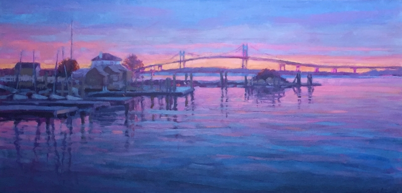 Newport Bridge, oil 15x30