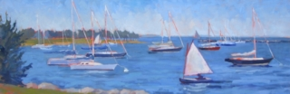 Padanaram Sail, oil 12x36, private collection