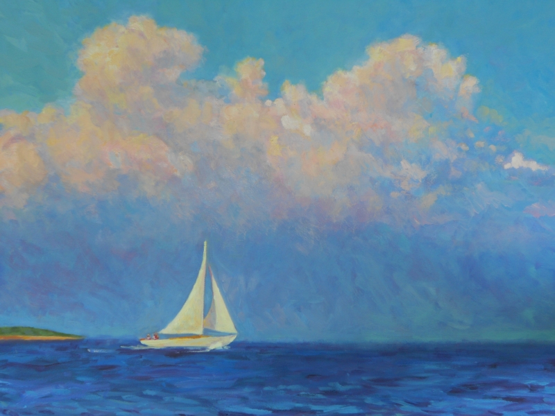 Sailing Past Penikese, oil 24x30