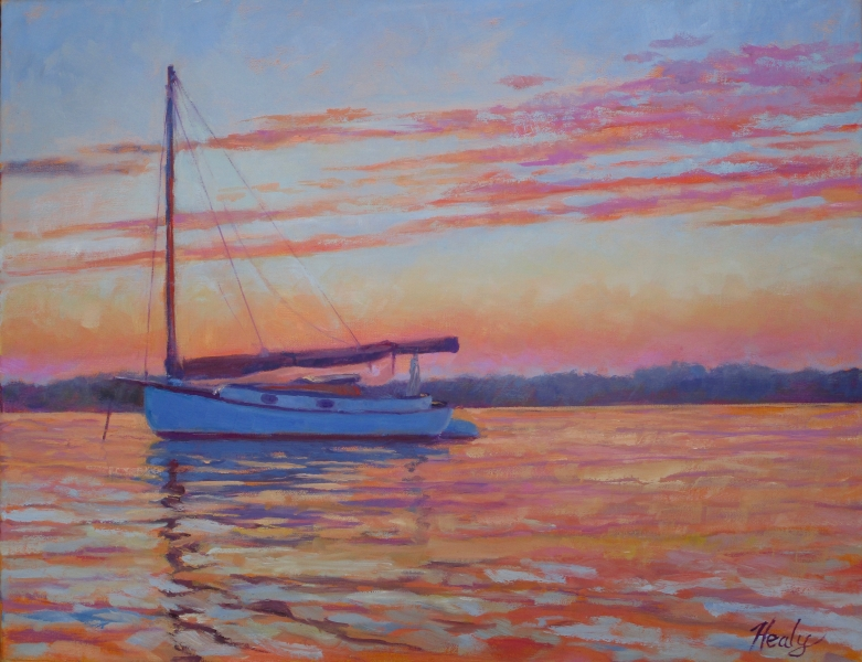 Catboat Aglow. oil 16x20