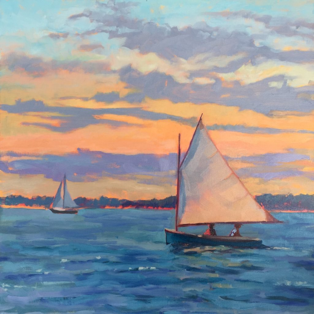 Sunset Sail, oil 20x20