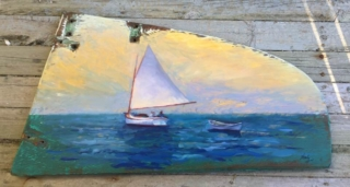 Painted vintage wooden rudder Westport River Watershed Alliance donation