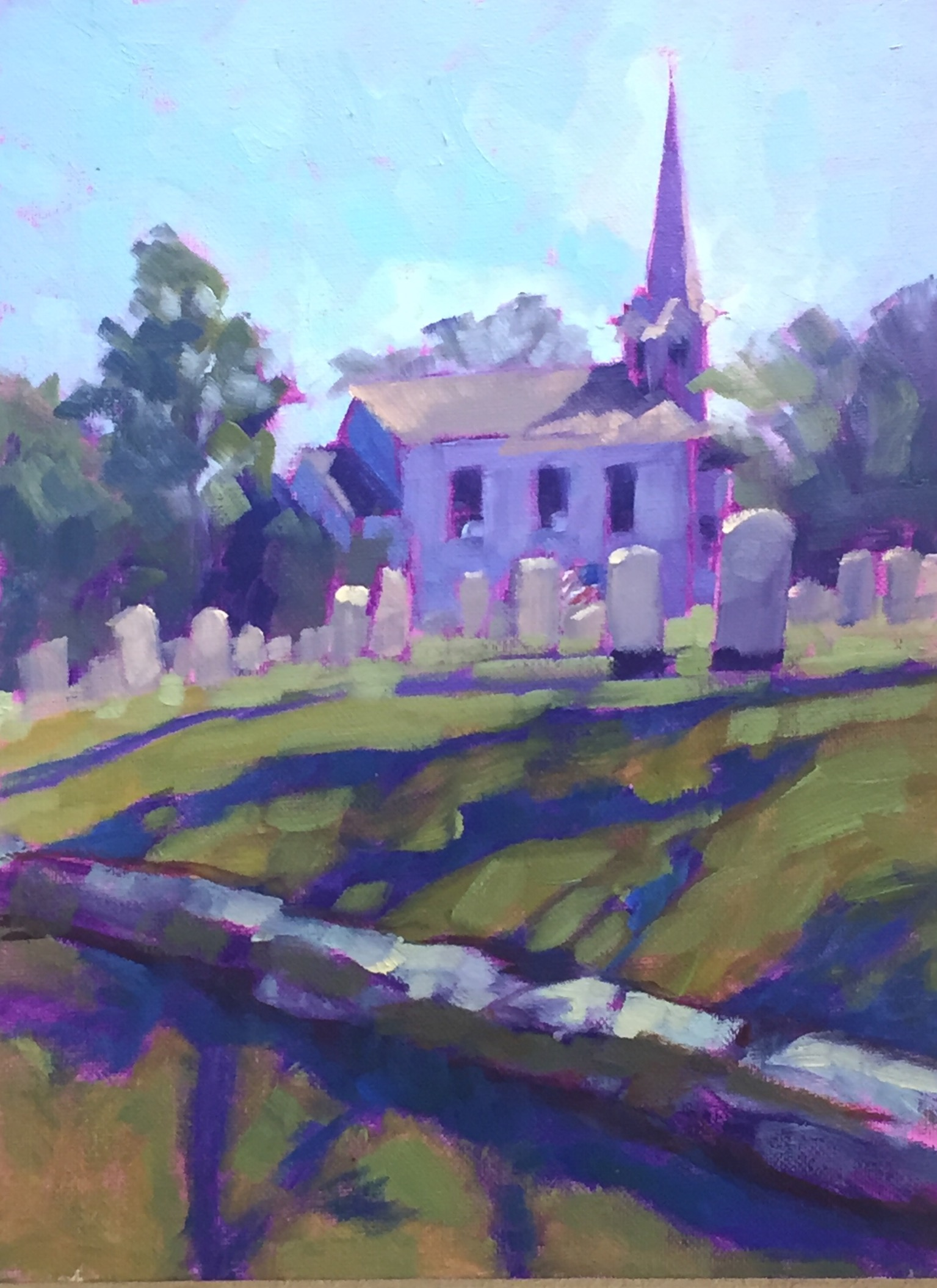 Church Little Compton painting